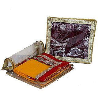 Kuber Industries Exclusive Saree Cover In Transparent With Golden Lace Set Of 3 Pcs, Wedding Collection Gift Ki0023012
