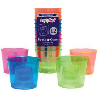 True Vino 120Ml+30 Ml Hard Plastic Neon Bomber Cups (12 Pc), Relabeled 1706