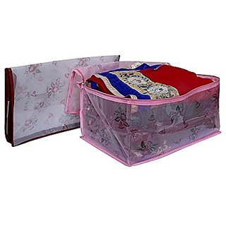 Kuber Industries Transparent Net Saree Cover, Wardrobe Organiser, Regular Cloth Bag Set Of 2 Pcs Ki0023003