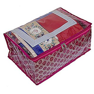 Kuber Industries Saree Cover Fancy Brocade (Pink) , Wedding Collection Ki1