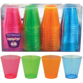 True Vino 60Ml Hard Plastic Neon Shot Glasses (60 Pc)