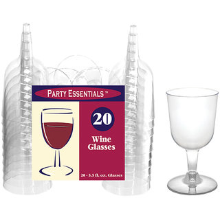 True Vino 165 Ml Hard Plastic Wine Glasses (20 Pc)
