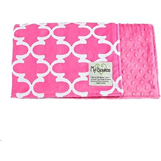 My Blankee Dolce Vita Lattice Minky Raspberry w/ Minky Dot Raspberry Baby Blanket, 29