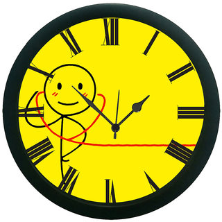 AE World Abstract Yellow Wall Clock (With Glass)