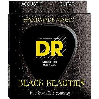 DR Strings Acoustic Guitar Strings, Black Beauties - Black Coated, 11-50