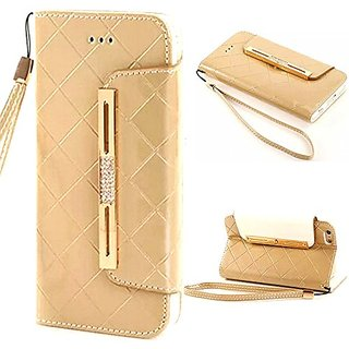 Coddycase Polycarbonate Leather Wallet Case for iPhone 6S Plus With Strap - Golden