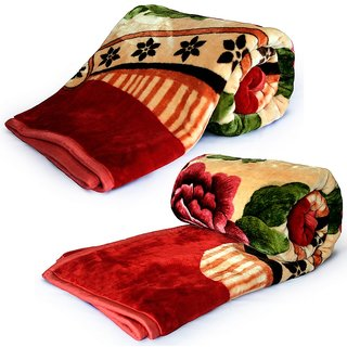 Set of 2 Soft Red Floral Print Double Bed Blankets 224
