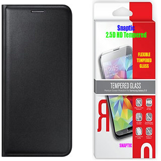 Black Leather Flip Cover and 25D HD Flexible Tempered Glass for Sony Xperia X Compact