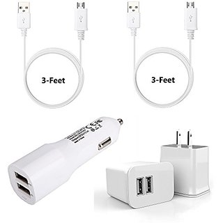 Samsung Galaxy S6 Charger, iRAG Essential Home & Car Charger 4-in-1 Travel Kits includes [24-Month Warranty] 3ft Micro U