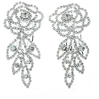 NYfashion101 Womens Rhinestone Studded Rose Pair Hair Comb NHCY2007SY
