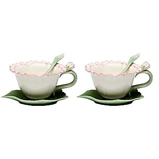 CG SS-CG-10437 6 Piece White Carnation Set Including 2 Cups, Saucers, & Spoons