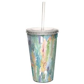 Tree-Free Greetings cc33619 Retro Watercolor Plumage by Shell Rummel 16 Ounce Artful Traveler Double-Walled Cool Cup wit