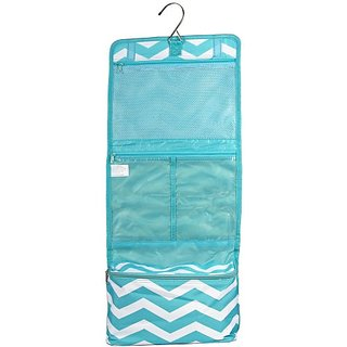 Womens Chevron Hanging Cosmetic Bag (Light Blue/White)