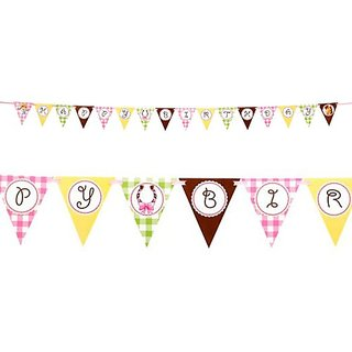 Pink Cowgirl Party Supplies - Flag Ribbon Banner