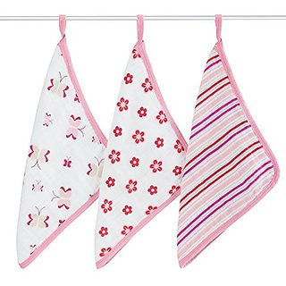 aden + anais Classic Washcloth, Princess Posie, 3 Pack