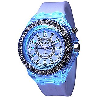 White Geneva Quartz Flashing Light up Color Changing LED Silicone Jelly Watch