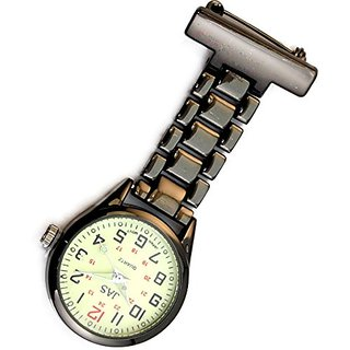 JAS Unisex Nurses Lapel Watch (Infection Control) Metal Linked - Gunmetal with Luminous
