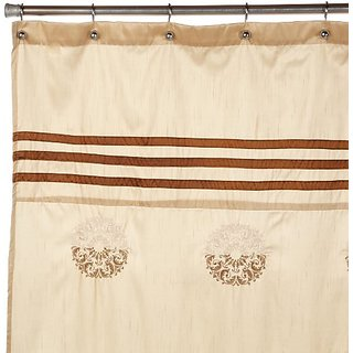 Regal Home Collections Justina Embroidered Shower Curtain, Gold/Brick