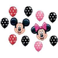 MICKEY MINNIE MOUSE Red Black Pink Polka Dots Heads Myl