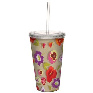 Tree-Free Greetings cc33741 Secret Garden Floral on Linen by Nel Whatmore Artful Traveler Double-Walled Cool Cup with Re