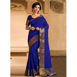 INDIAN BEAUTY Art Silk Self Design Saree / Sari With Blouse ( Colours Available)