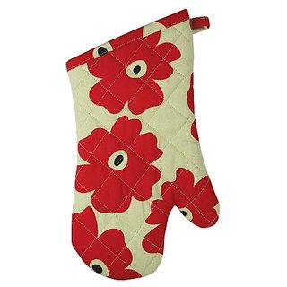 MUkitchen 100% Cotton, Terry-Lined Oven Mitt, 13-Inches, Red Poppy