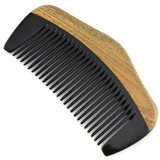 Evolatree - Wooden Comb, Fine Tooth, Lignum Vitae & Ox Horn, Pocket Size, 4.25