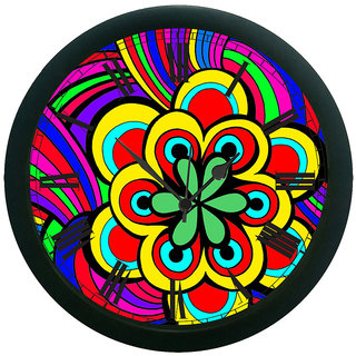 AE World Multi Colour Floral Wall Clock (With Glass)