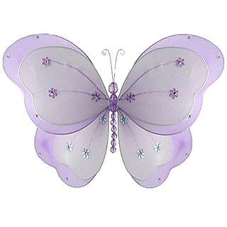 The Butterfly Grove Chloe Butterfly Decoration 3D Hanging Mesh Nylon Layered Decor - Purple Wisteria - Medium - 13