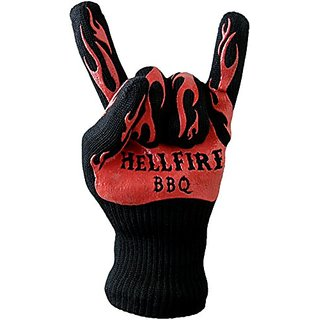 HellFire BBQ & Ove Gloves are Extremely Flame & Heat Resistant Barbecue Mitts with Silicone Fingers for Grill, Smoker, P