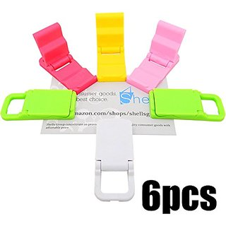 Shells Latest 6Pack Colorful Collapsible Mini Portalbe Desk Stand Holder For Smartphones ,MP4 Players ,PSP And More