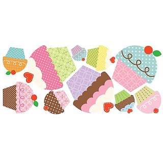 RoomMates RMK2037GM Happi Cupcake Peel and Stick Giant Wall Decals
