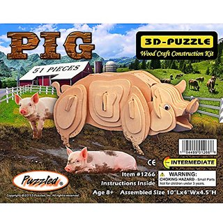 Puzzled Pig 3D Natural Wood Puzzle
