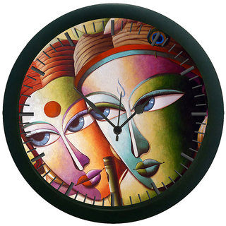 AE World Radha Krishna Wall Clock (With Glass)
