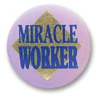"Miracle Worker Satin Button 2"" Party Accessory"