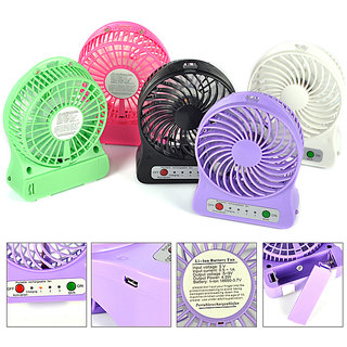 Multi Functional Portable Rechargeable 3 Speed USB Fan with built-in USB LED Light-Assorted