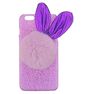S&C Cute Luxury 3D Rabbit Ear Faux Fur Ball Bling Glitter Hard Back Case Cover Phone Case for iPhone 6 6S (4.7