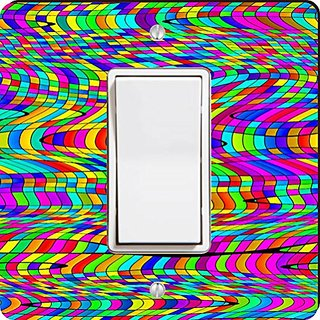 Rikki Knight Chromatic Rainbow Swirly Squares Single Rocker Light Switch Plate