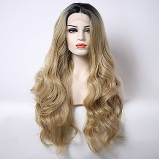 Arimika Bodywave Short 2-4inch Dark Brown Roots Ombre Blonde Synthetic Lace Front Wig Decent Parting Space Transparent L