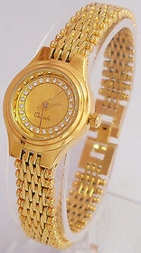 GOLD PLATED WATCH FOR WOMENS (V180)