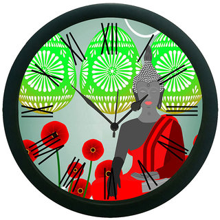 AE World Meditating Saint grey Wall Clock (With Glass)