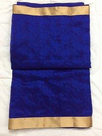 none Blue Raw Silk Self Design Saree With Blouse