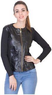 Shimmer Black Faux Leather Jacket