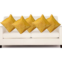 Deal Wala Set Of 5 Attractive Rose Design Cushion Cover-yellow