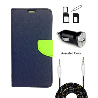 Wallet Flip case Cover For Micromax Bolt S302   (BLUE) With Noosy Sim Adapter + Car Adapter + 3.5 Aux Audio Cable- 1 Meter(colour may vary)
