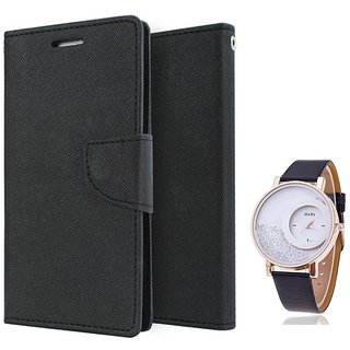 Wallet Flip case Cover For HTC Desire 820  (BLACK) With Moving Diamond  Women Watch