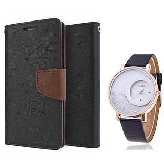 Wallet Flip case Cover For Reliance Lyf Wind 4  (BROWN) With Moving Diamond  Women Watch