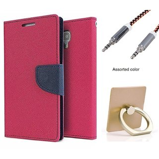 Wallet Flip case Cover For HTC One X9  (PINK) With Key Ring Phone Holder Mobile Stand + Metal Aux Cable- 1 Meter(colour may vary)