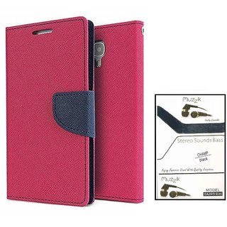 Wallet Flip case Cover For Samsung Galaxy J1 (2016)  (PINK) With Earphone(3.5mm Jack Champ Earphone)