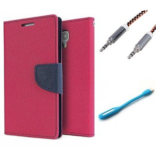 Wallet Flip case Cover For Micromax Canvas Juice 2 AQ5001  (PINK) With Usb Light + Metal Aux Cable- 1 Meter(colour may vary)